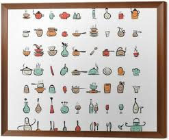 kitchen utensils drawing. Kitchen Utensils Characters, Sketch Drawing Icons For Your Framed Canvas