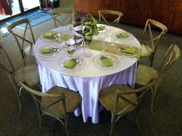 5 foot round table 5 foot round table lilac with a burlap table runner and moss 5 foot round table