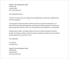 Download Sample Nurse Resignation Letter Word Doc