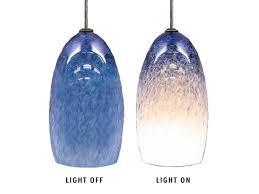blown glass pendant light steel blue
