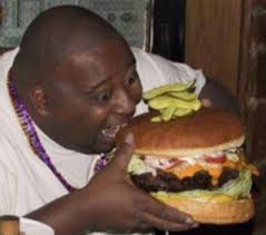 Fat black people eating
