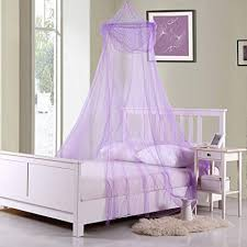 Amazon.com: Collapsible Purple Sheer Bed Canopy For Kids Room Decor ...