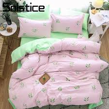 solstice home textile girl teen bedding sets light pink green duvet cover pillowcase bed sheet woman bedclothes king queen queen comforters sets