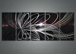 cheap metal wall art electric shining perfect look five panels line abstract astounding metal modern wall on modern abstract metal wall art uk with cheap metal wall art mollik me