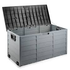 waterproof outdoor storage containers large outdoor storage box with lock in black 290l outdoor