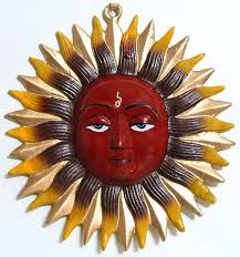 sun wall hanging red and golden color for good wealth
