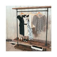 ird triple shelf clothing rack rustic furniture with pipe garment rack prepare