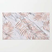 stunning rose gold area rug for rose gold palm fronds on marble rug by marbleco
