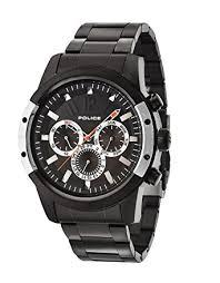 police men s quartz watch black dial chronograph display and police men s quartz watch black dial chronograph display and black stainless steel plated bracelet 14528jsbs