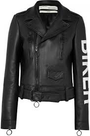 off white jackets black womens printed leather biker jacket black