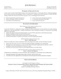 public relations sample resume public relations resume example examples of resumes