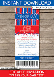 Fourth Of July Party Ticket Invitations Template