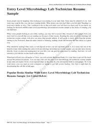 Editable Microbiology Lab Technician Resume Sample Fill Print