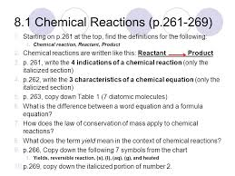 8 1 chemical reactions p 261 269