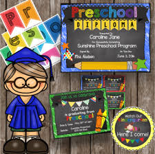 Preschool Graduation Announcements Preschool Graduation Pack Diploma Banner Sign Announcement Editable