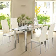 Modern Rectangular Glass Surface Dining Table Kitchen Dining Room