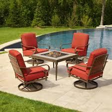 hampton bay sy metal patio fire pit conversation set chili cushion 5 piece