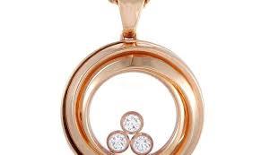 chopard chopard happy diamonds 18k rose gold diamond circle pendant necklace