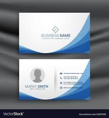Card Design Template Blue Wave Simple Business Card Design Template