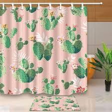 ly plants cactus flower waterproof polyester fabric shower curtain set non slip floor mat bath