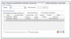 Adding Direct Deposit Information To An Employee Bank Account