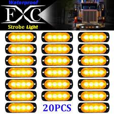 Used Ambulance Light Bar Details About 20 Pcs Amber Car 4 Led Emergency Strobe Light Bar Kit Marker Flash Warning Lamp