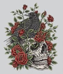 Vektor Vrána Růže A Lebka Tetování Design 68208131 Fotobanka