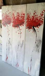 3 x wall art set red poppies abstract