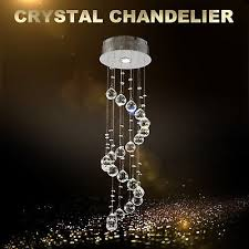 spiral crystal chandelier chrome pendant hanging lights ceiling light decor