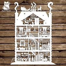 christmas house template papercut diy design template christmas house