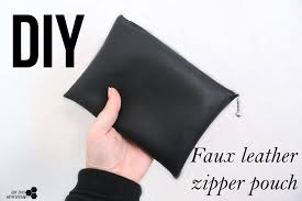 diy makeup bag zipper pouch how to faux leather bag the tiny honeycomb