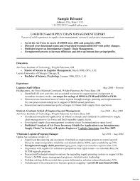Supply Chain Management Resume International Business Objective ...