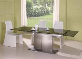 white chairs modern dining table