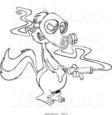 Small Picture Cartoon Vector of Cartoon Skunk Wearing a Mask and Spraying
