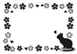 猫と桜のフレームモノクロ 無料イラスト素材素材ラボ