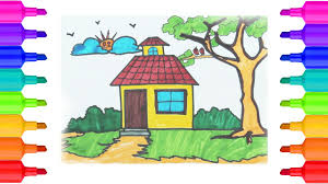 Small Picture LearnHow to Draw House Coloring Pages for Kids Drawing for
