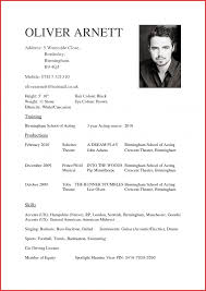 Unique Acting Cv Example Personal Leave How To Write A Broadway