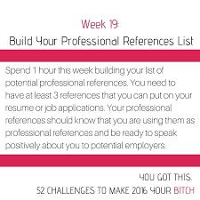 Professional Goals List 52 Goals Week 19 Build Your Professional References List