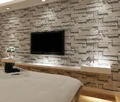 pvc stacked stone wallpaper textured grey tan brick wallpaper