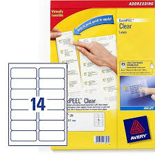 avery sheet labels avery 14 per sheet clear label pack of 350