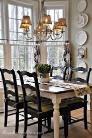 nice dining e love the dark chairs with lighter farmhouse table
