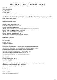 Truck Driving Resume Examples Driver Resumes Box Sample Astounding