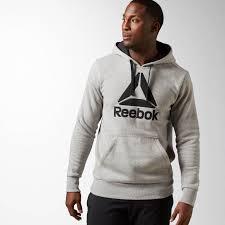 reebok hoodie. mens hoodies \u0026 sweatshirts reebok brushed big logo hoodie - grey w77k2615 h