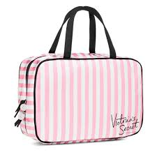 new genuine victoria s secret large hanging striped makeup wash bag vanity case by victoria s secret for beauty in the united states