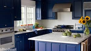 kitchen color ideas with cherry cabinets white island stainless materials appliances black wooden mobile island blue