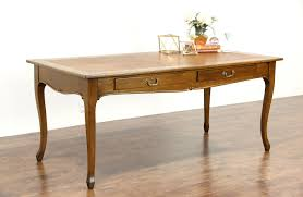 oak 1900 antique 6 library table or writing desk leather top