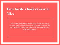Mla Format Cite A Book How To Cite A Book Review
