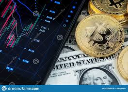Bitcoin Cryptocurrency And Banknotes Of One Us Dollar Next