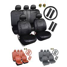 79 99 leader accessories diamond ii auto black seat cover leather set 17 pcs free steering wheel cover
