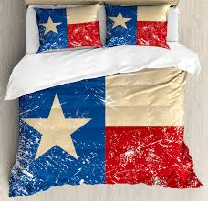 texas star duvet cover set grunge flag ilration with lone star retro independence sign decorative bedding set with pillow shams vermilion beige navy